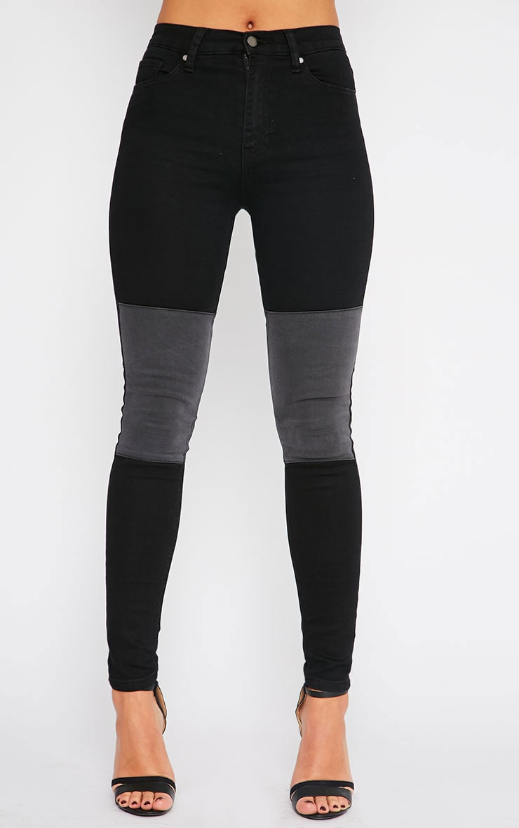 Abigail Black Grey Knee Patch Jeans 2