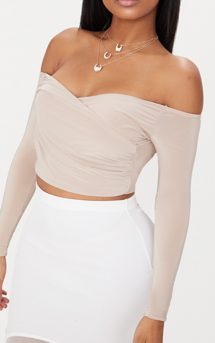 Shape Nude Slinky Bardot Crop Top 5