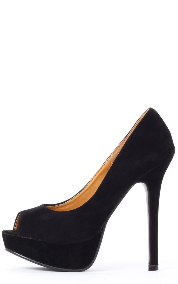 Tabitha Black Suedette Peep Toe Court Shoes 1