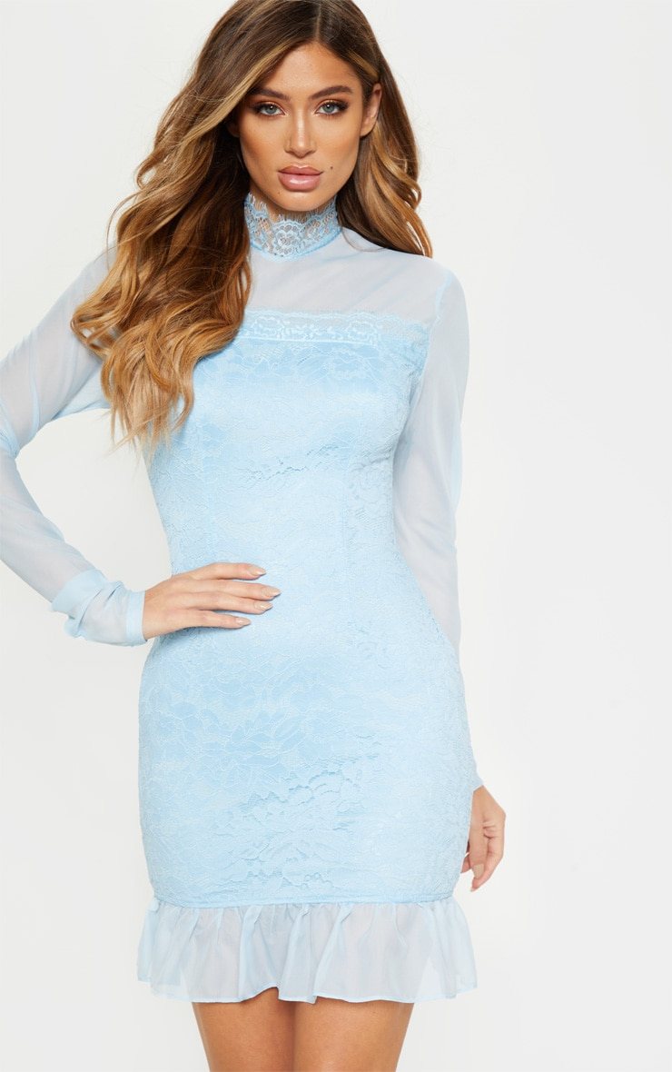 738884779a5 Dusty Blue High Neck Lace Long Sleeve Bodycon Dress image 1