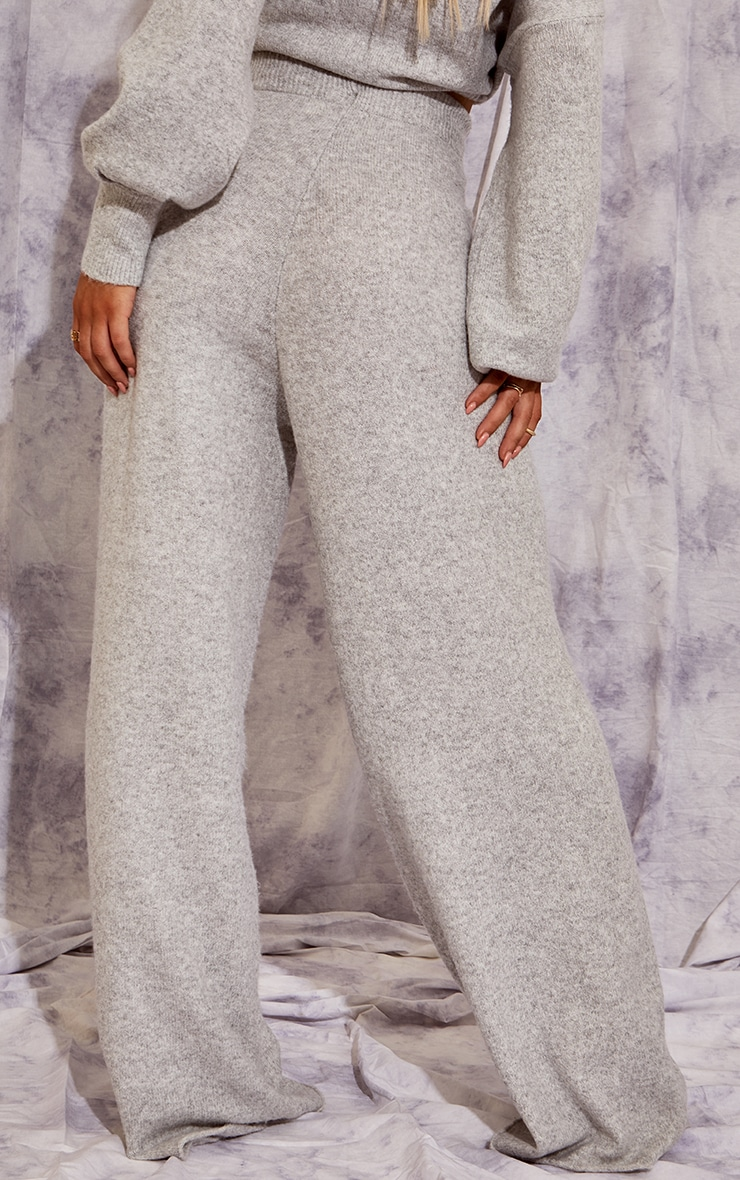 Recycled Light Grey Knitted Wide Leg Pants 3