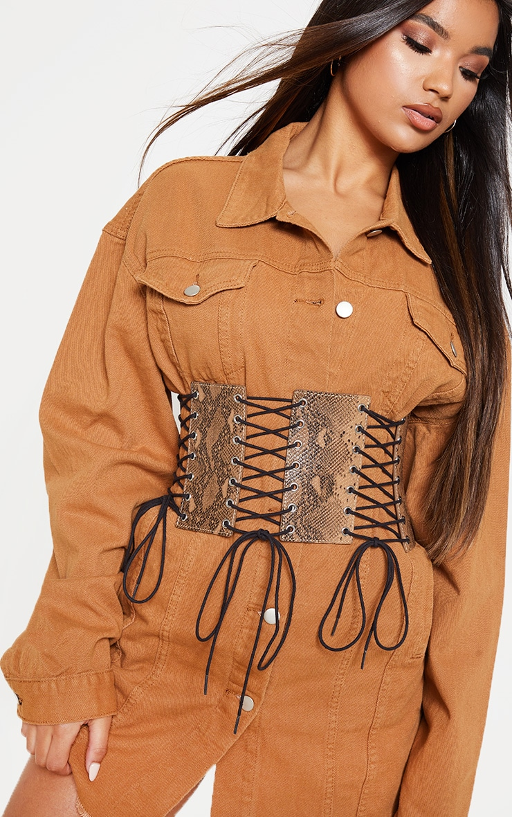Brown Snake Lace Up Corset Belt  1
