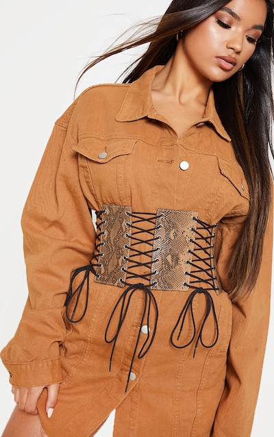 e01b5af3d8 Brown Snake Lace Up Corset Belt