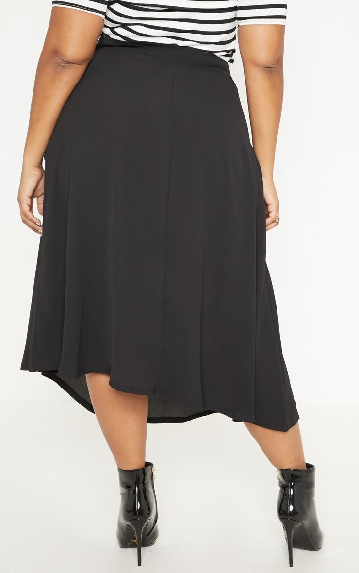 Plus Black Button Up Midi Skirt  4