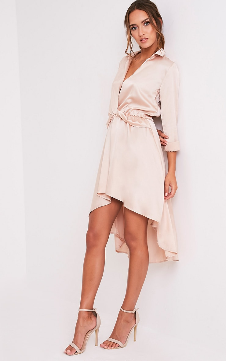 Gabbie Champagne Silky Wrap Over Midi Dress 4