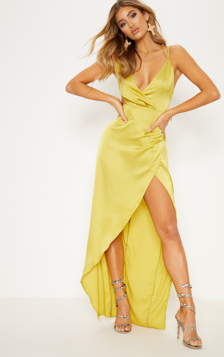 Chartreuse Asymmetric Sleeve Cut Out Split Leg Maxi Dress  2