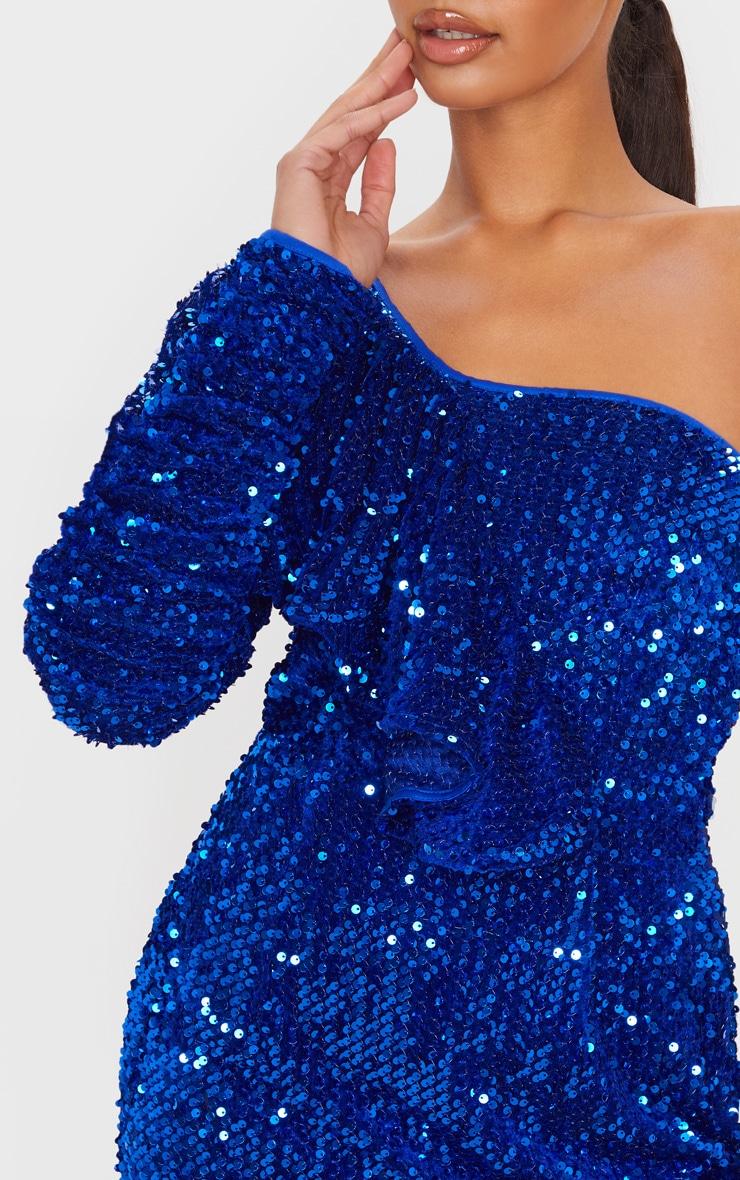 Cobalt Sequin One Shoulder Ruffle Detail Bodycon Dress 5