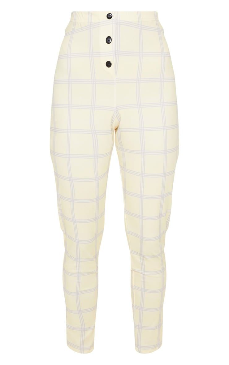 Yellow Check Popper Front Skinny Trouser 3