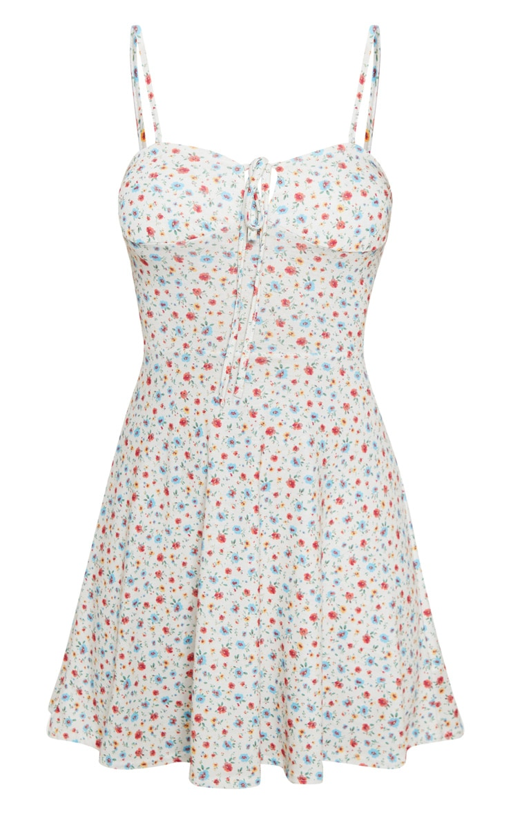 Cream Ditsy Floral Tie Front Skater Dress 3