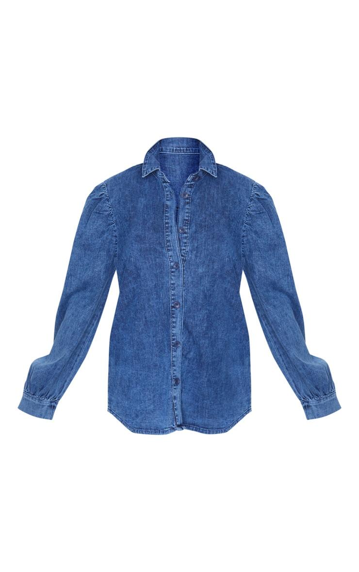 Petite Dark Blue Wash Balloon Sleeve Denim Shirt 6