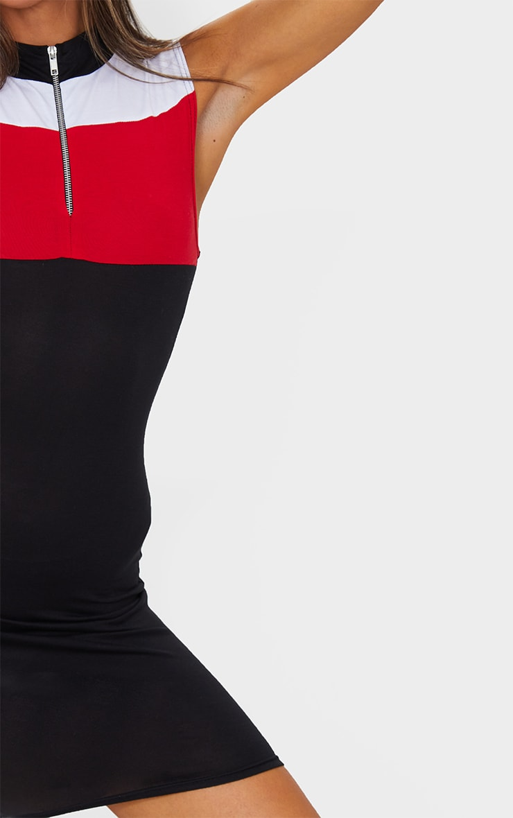 Black Mono Contrast Zip Bodycon Dress 4