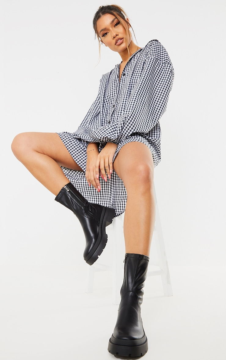 Black PU Ribbed Detail Chunky Sole Sock Ankle Boots 2