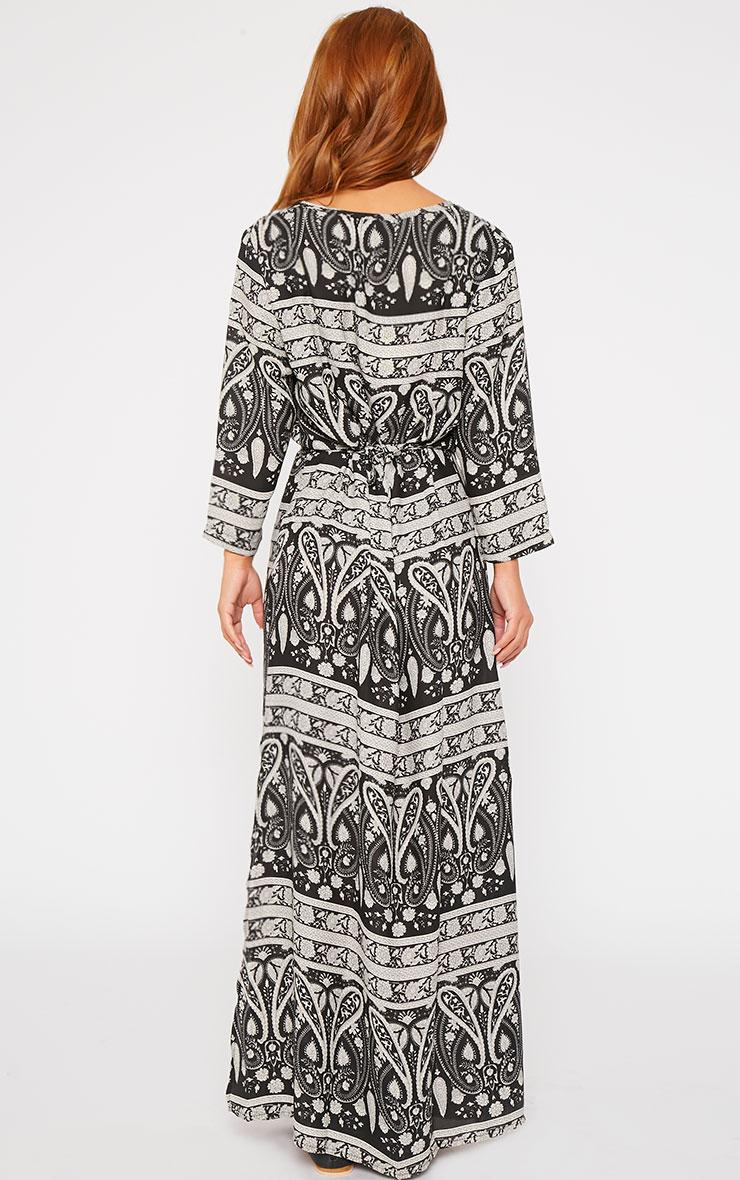 Octavia Black Paisley Print Button Front Maxi Dress 2