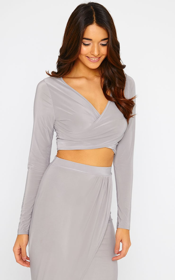 Ginevia Grey Slinky Wrap Front Crop Top  3