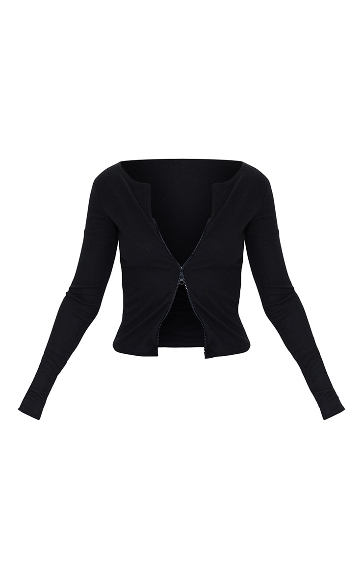 Black Soft Brushed Rib Double Zip Front Top 5