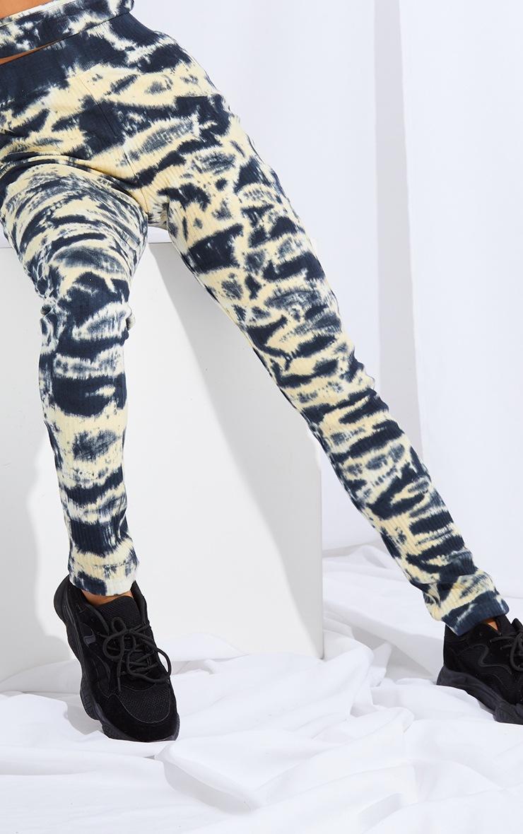 Petite Grey Ribbed Tie Dye Skinny Leggings 4