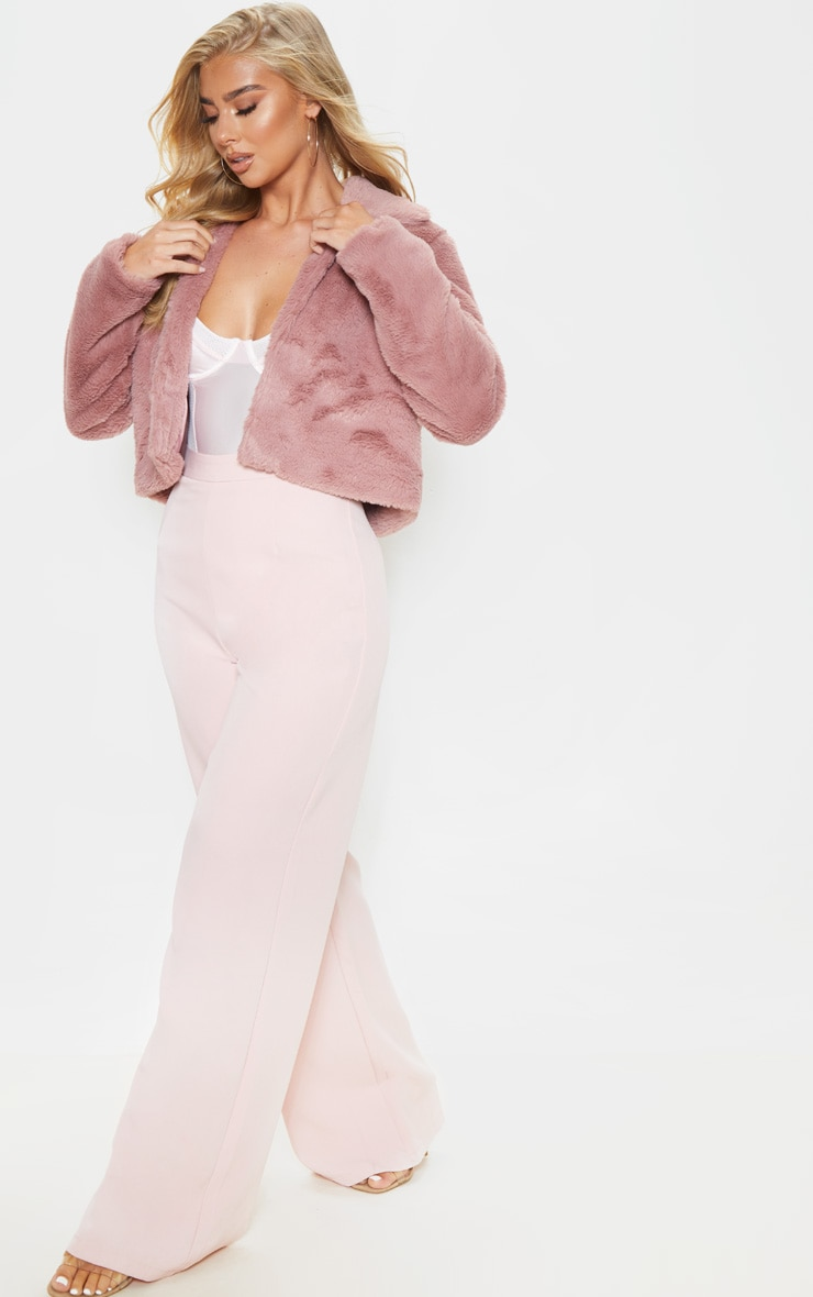 Rose Cropped Faux Fur Coat 4