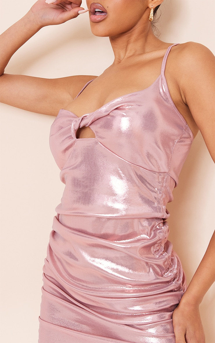 Pink Metallic Slinky Strappy Twist Bust Detail Ruched Bodycon Dress 4