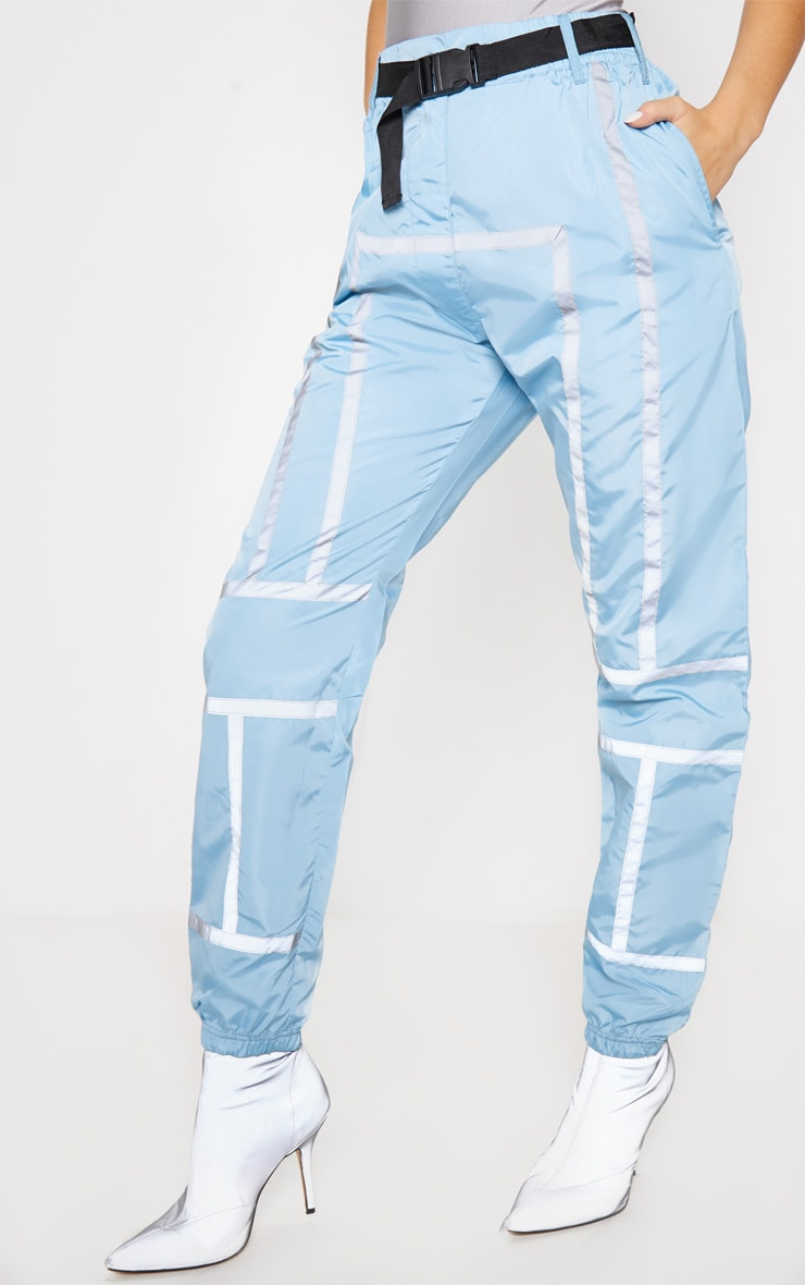 Dusty Blue Shell Reflective Tape Belt Detail Jogger 2