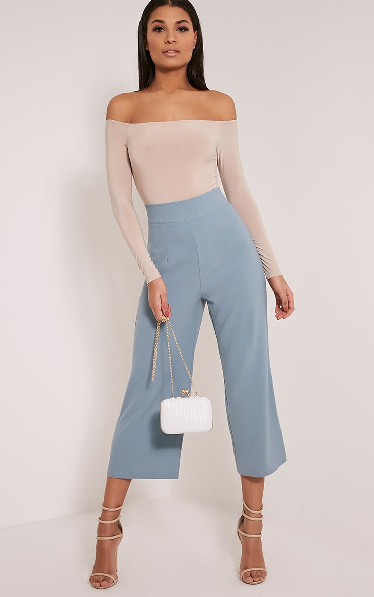 Tazmin Dusty Blue High Waisted Culottes 1