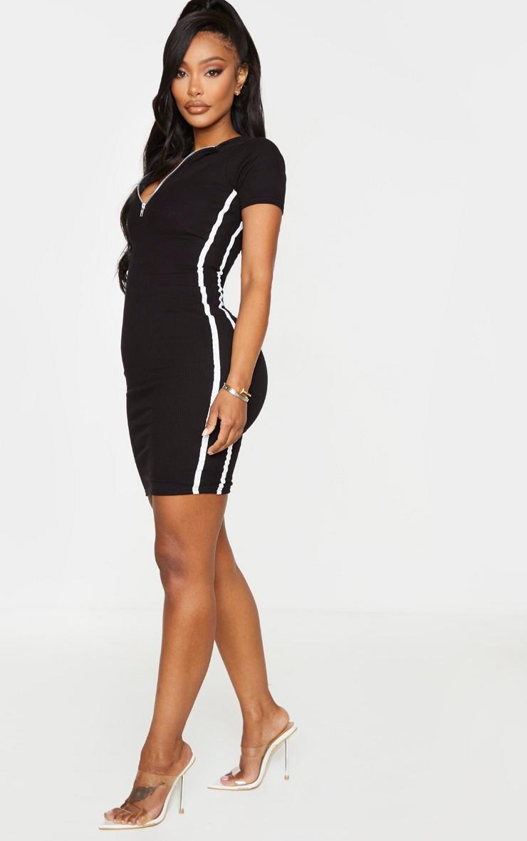 Shape Black Ribbed Side Stripe Zip Neck Bodycon Dress 3