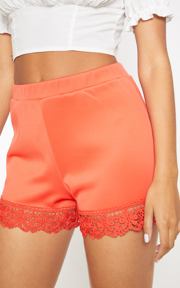Bright Orange Crochet Trim Short 5