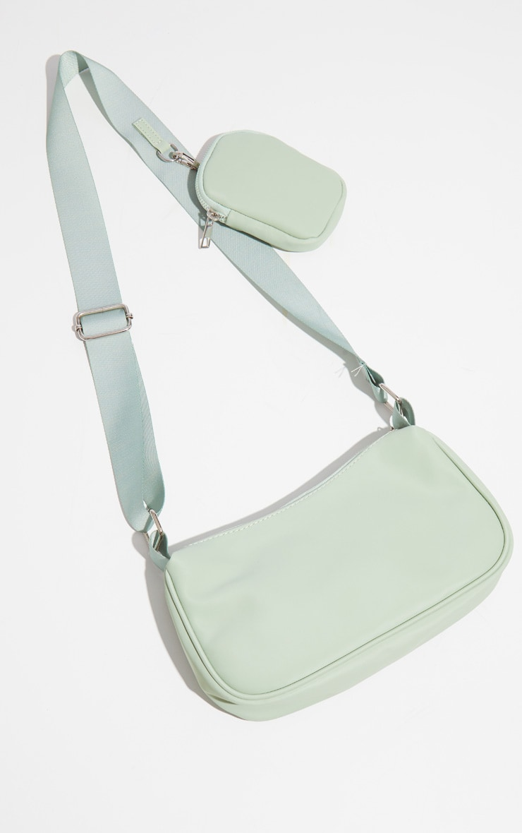 Sage Green Multi Pocket Cross Body Bag 2