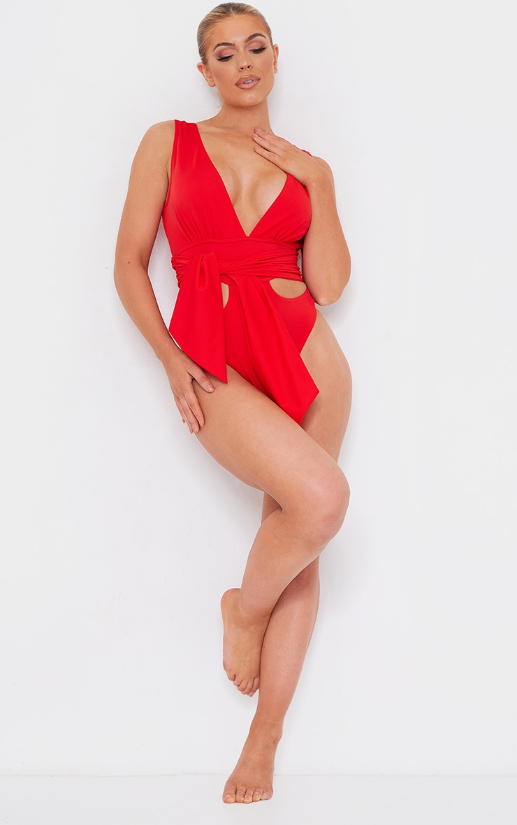 Red Cut Out Bow Tie Waist Swimsuit 3