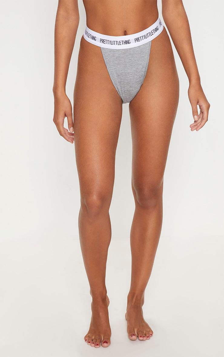 PRETTYLITTLETHING Grey High Leg Panties 2