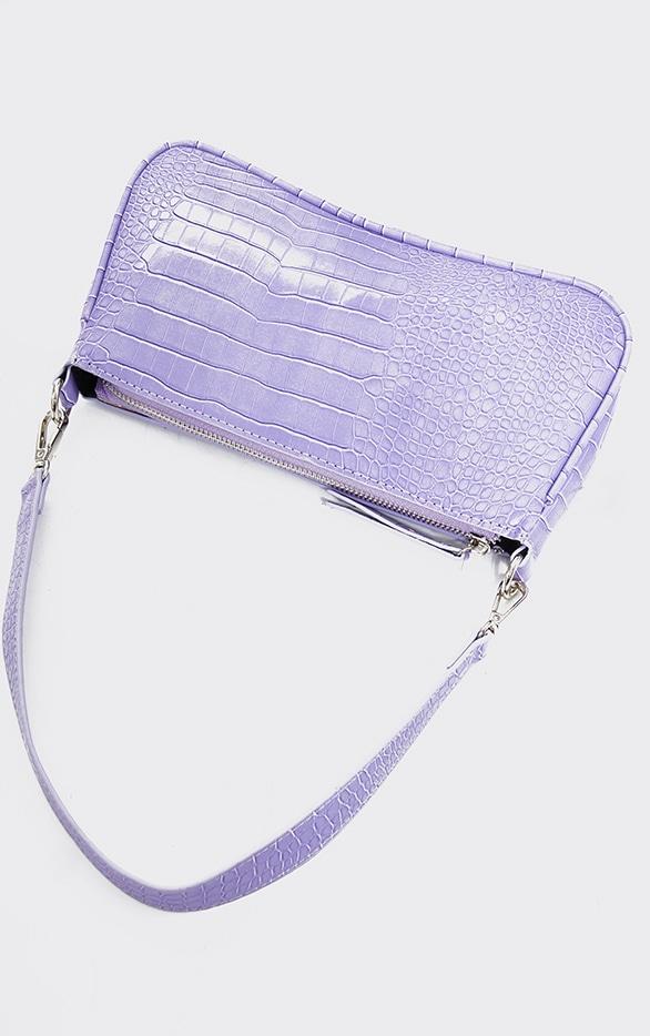 Lilac Croc Shoulder Bag 3