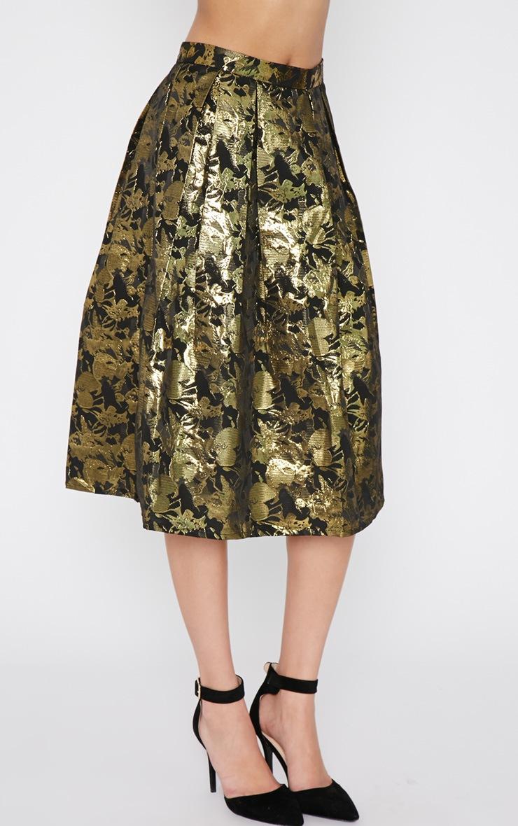 Iva Gold Floral Print A Line Skirt -12 3