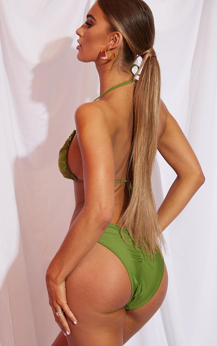 Olive Ruched Front & Back Bikini Bottom 2