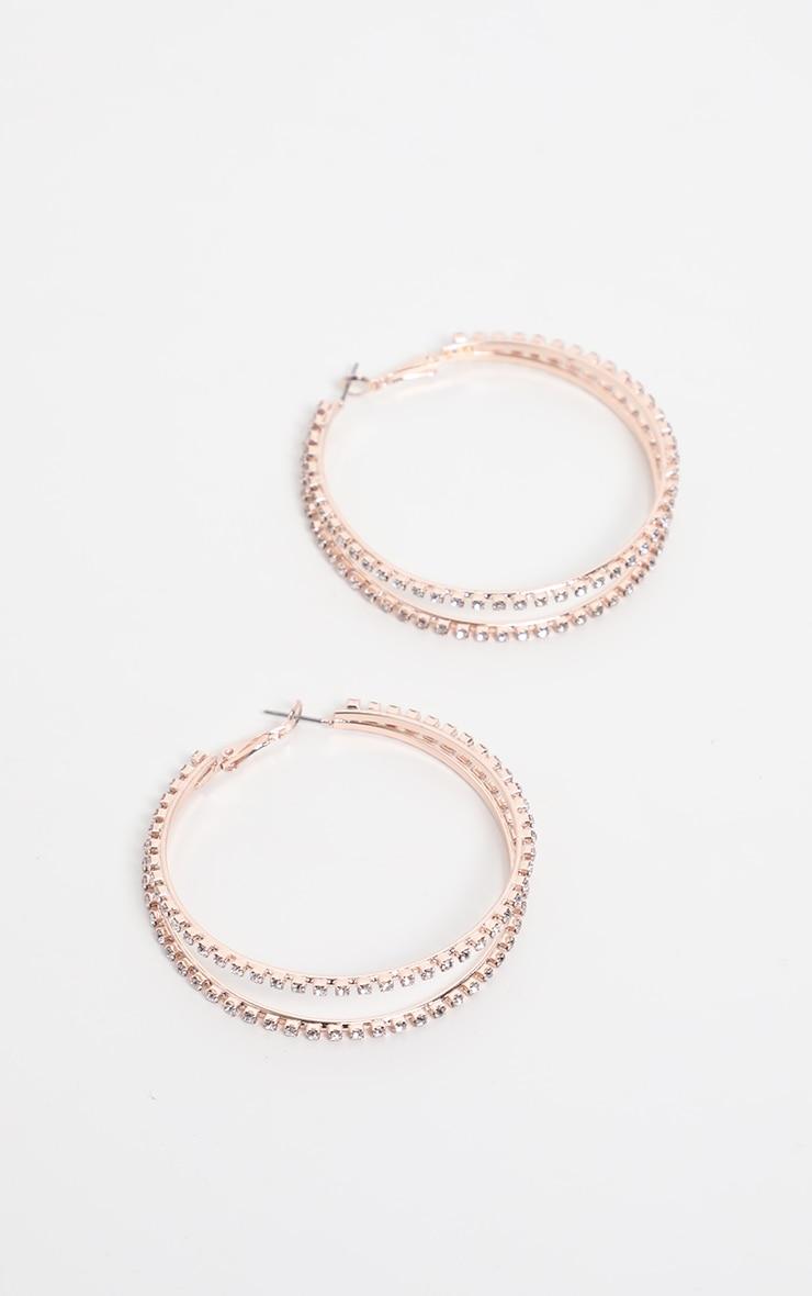 Gold Diamante Double Row Hoop Earrings 1