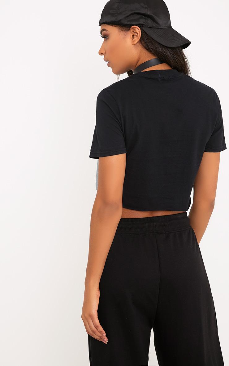 Black Iconic License Print Crop T Shirt 2