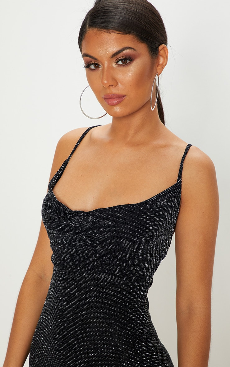Black Textured Glitter Cowl Neck Bodycon Dress 5
