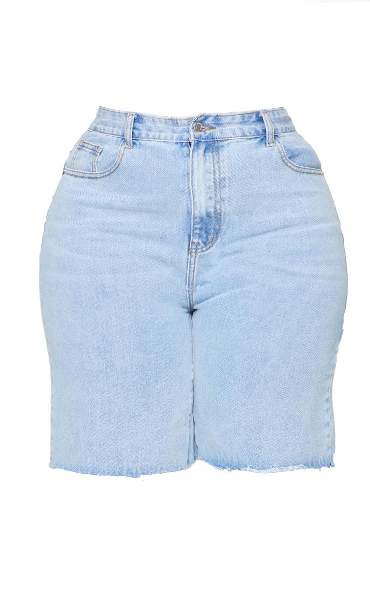 Plus Light Wash Longline Denim Shorts 6
