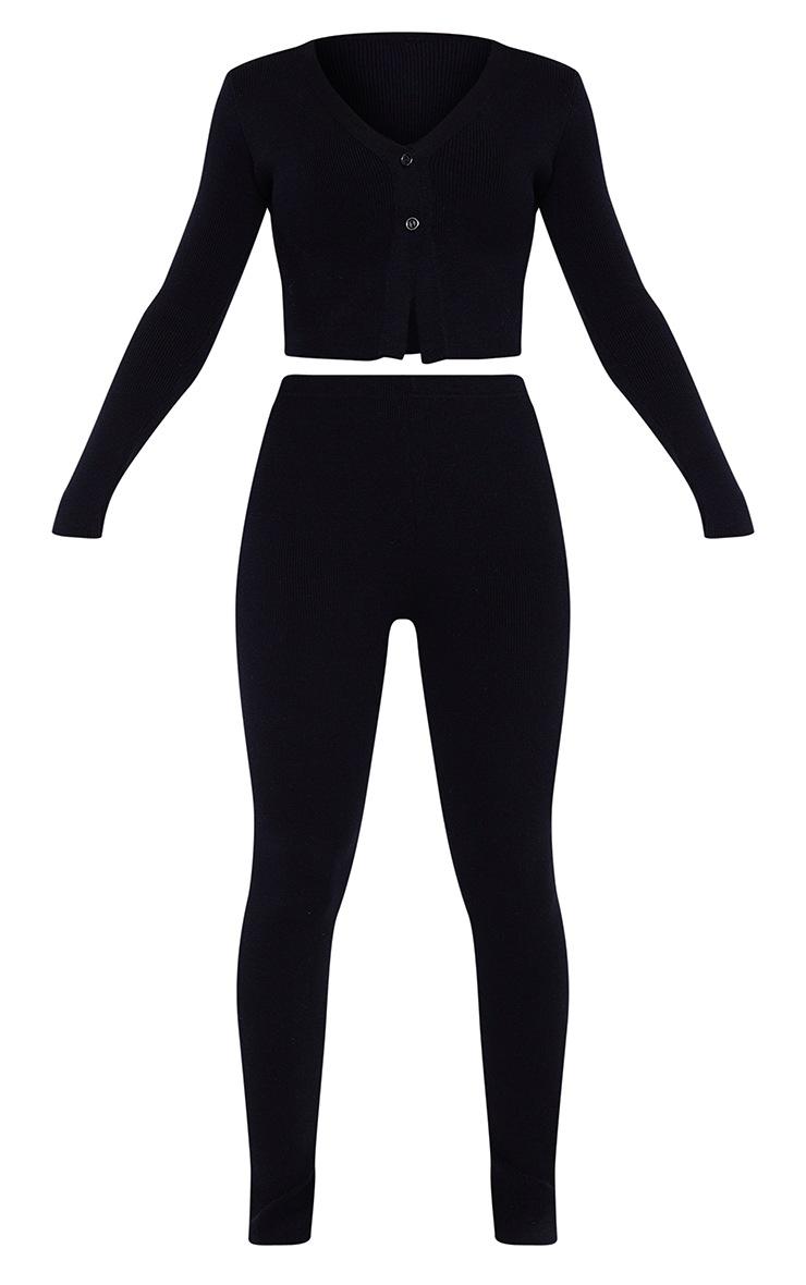 Black Ribbed Knitted Split Hem Trouser And Bralet Set 5