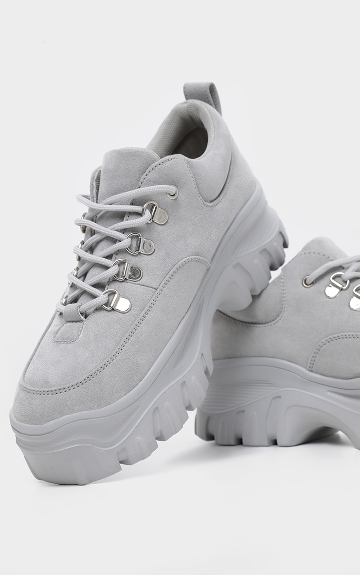 Grey Flatform Chunky Hiker Sneakers 3
