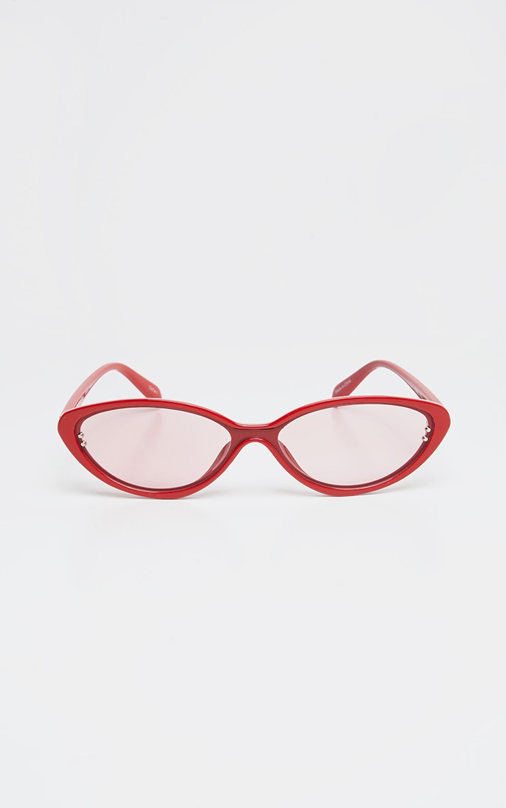 Red Cat Eye Tinted Lens Sunglasses 1