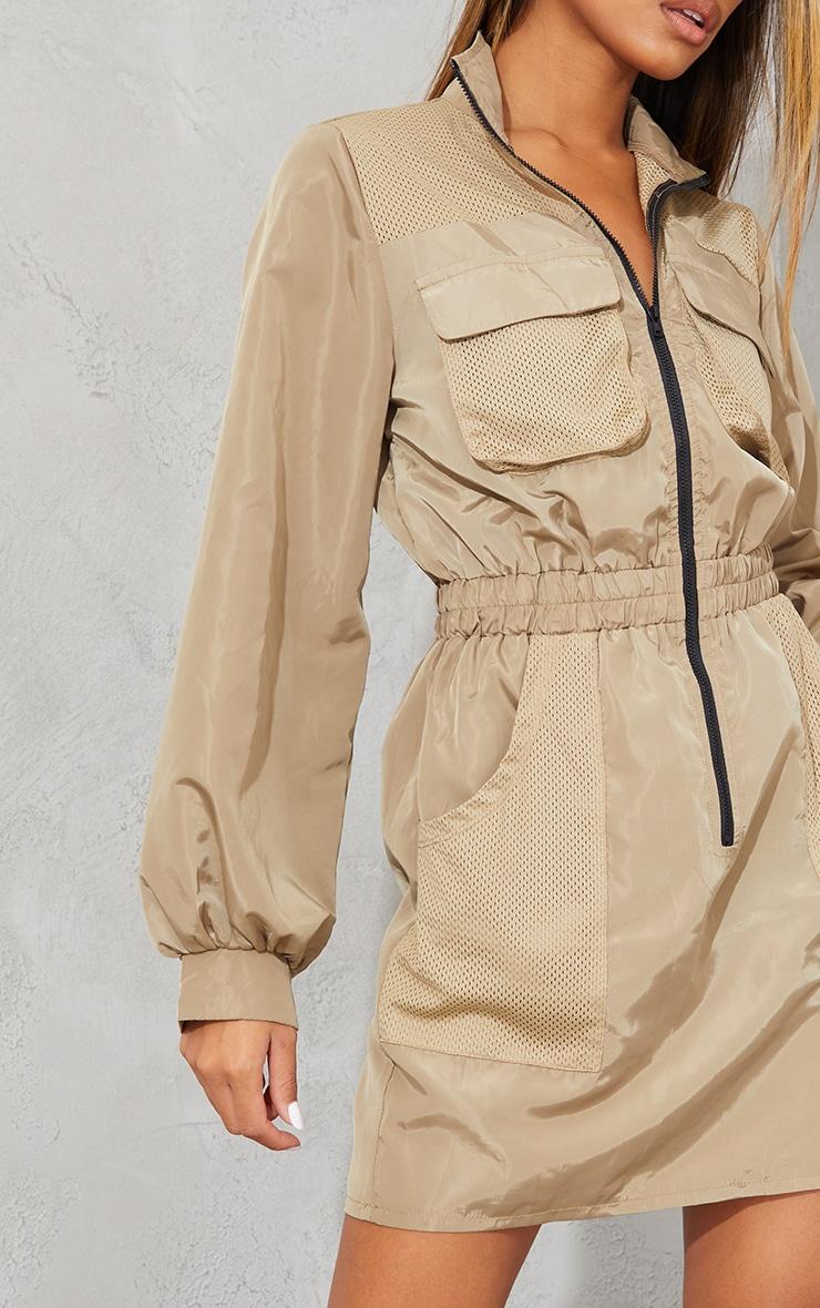 Stone Contrast Mesh Detail Zip Through Shell Bodycon Dress 4