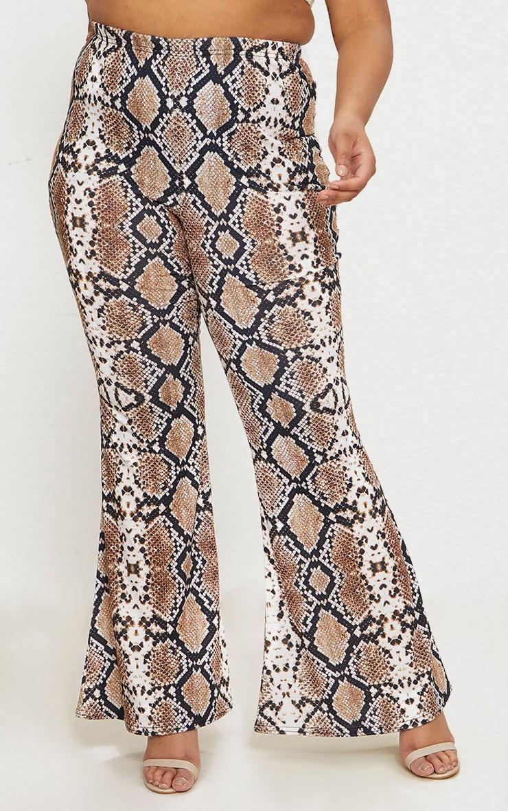 Plus Tan Snake Print Basic Flared Trousers 2