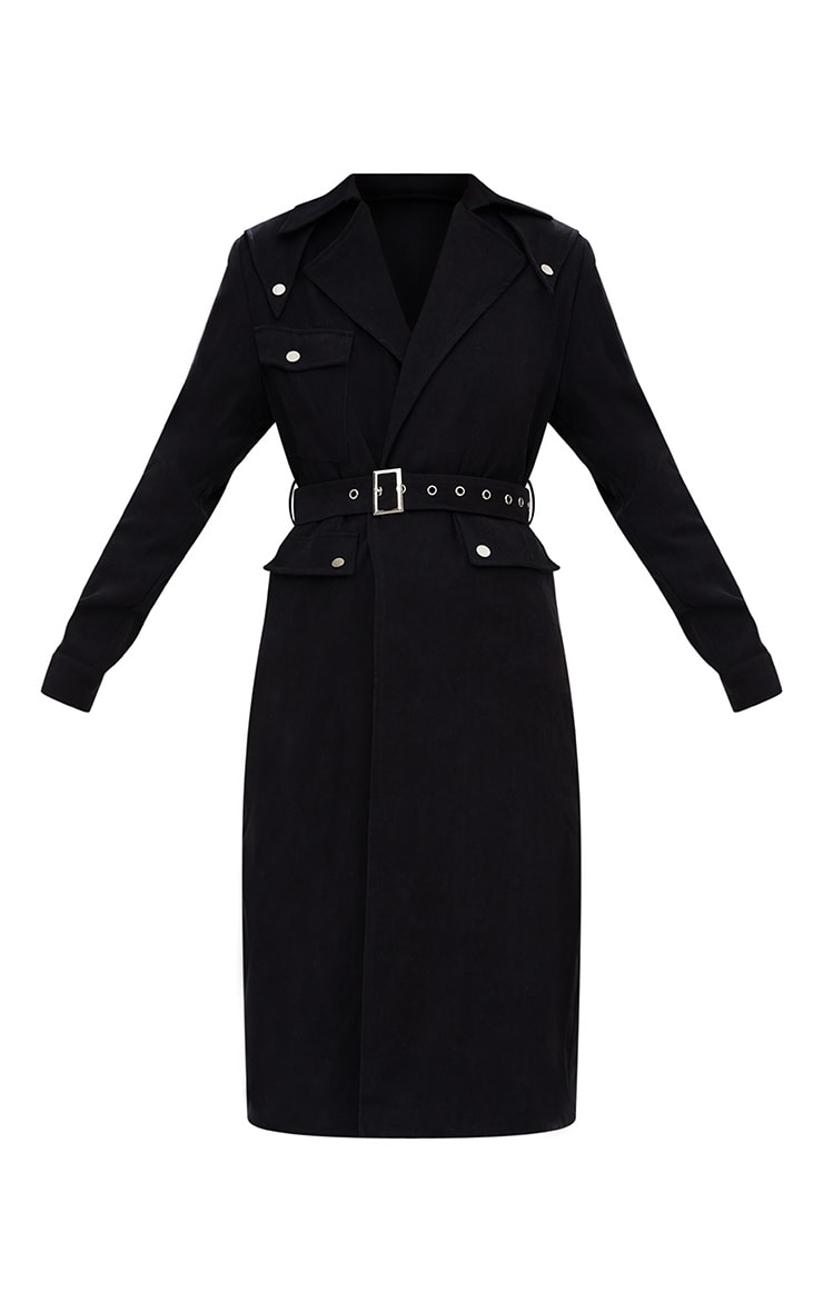 Black Longline Belted Trench Coat 3
