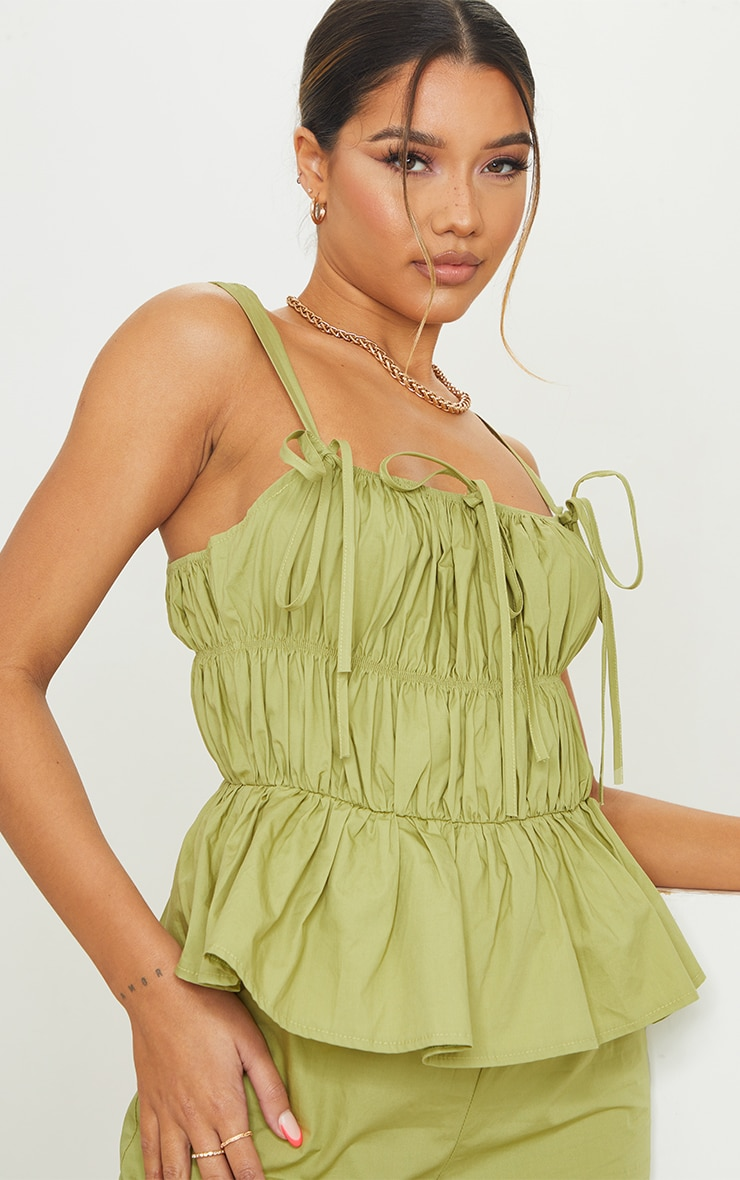 Khaki Ruched Bust Strappy Peplum Jumpsuit 4
