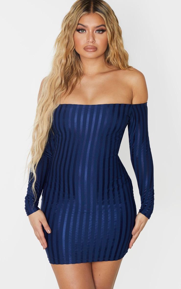 Navy Satin Stripe Detail Bardot Bodycon Dress 1