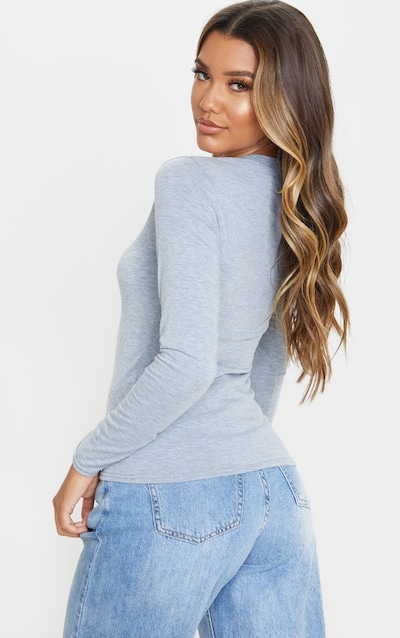 Grey Basic 2 Pack Long Sleeve Fitted T Shirt