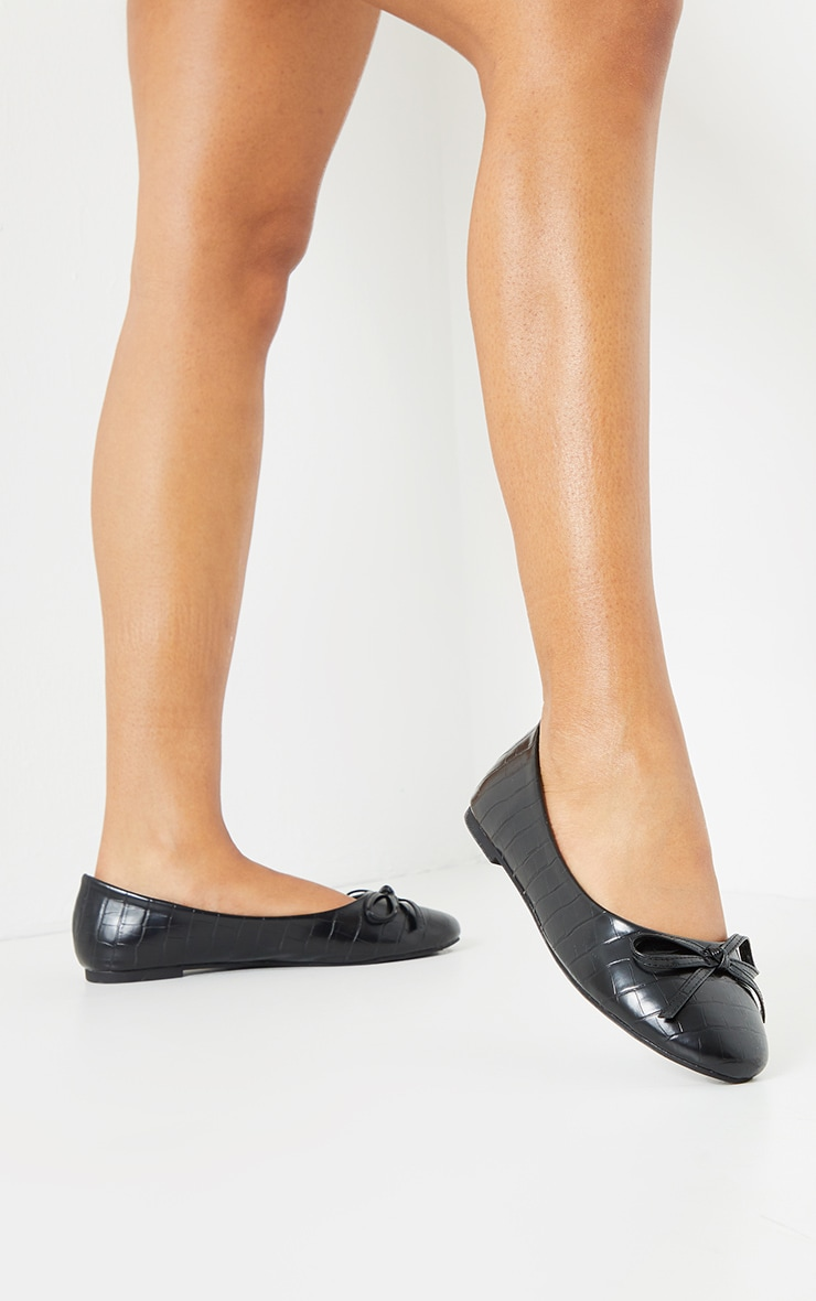 Black Wide Fit Croc PU Round Toe Ballet Shoes 2