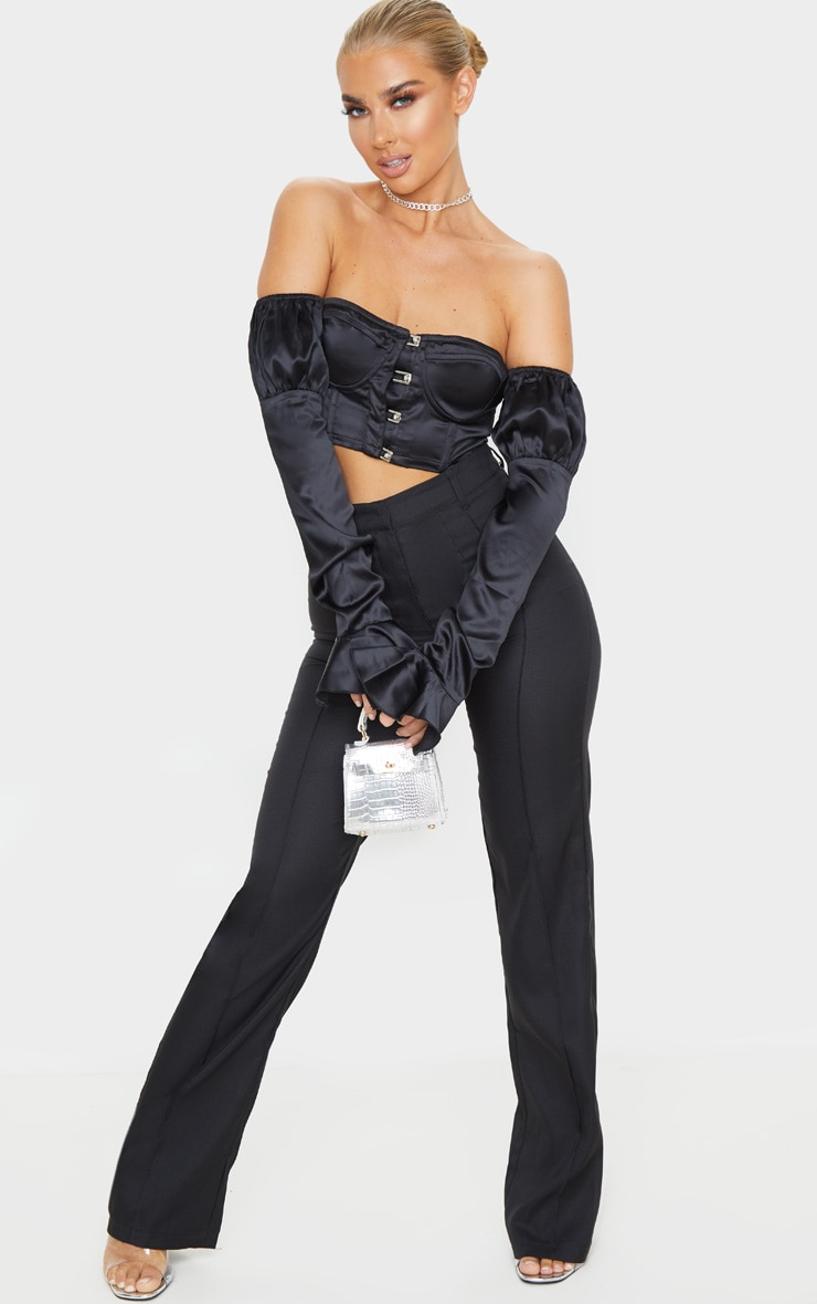 Black Satin Bardot Frill Sleeve Crop Top 4