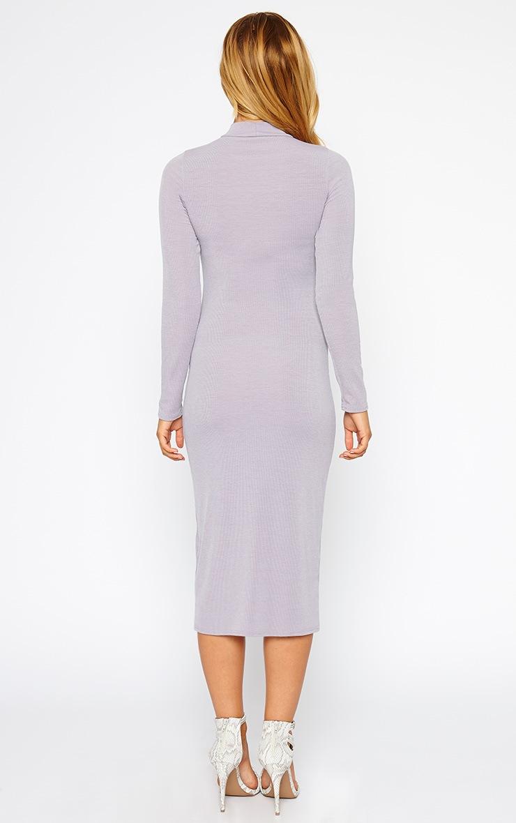 Basic Grey Ribbed Turtle Neck Midi Dress 2