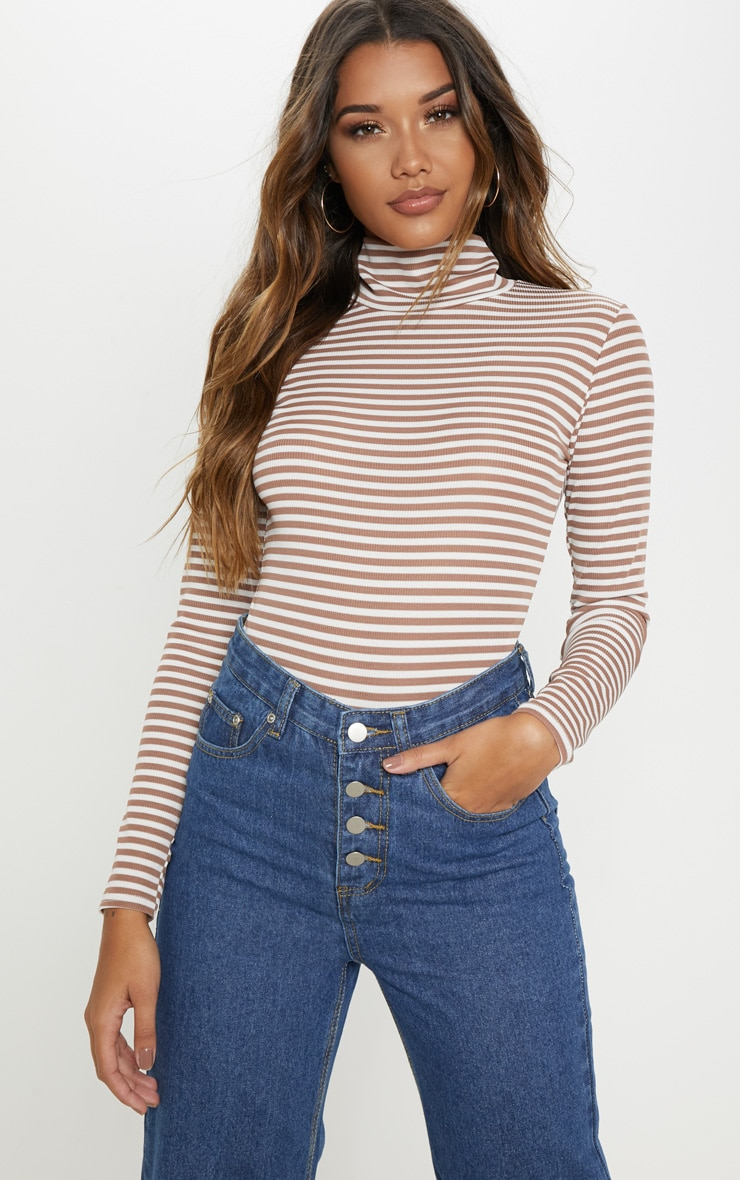 Chocolate Stripe Rib High Neck Long Sleeve Bodysuit 6