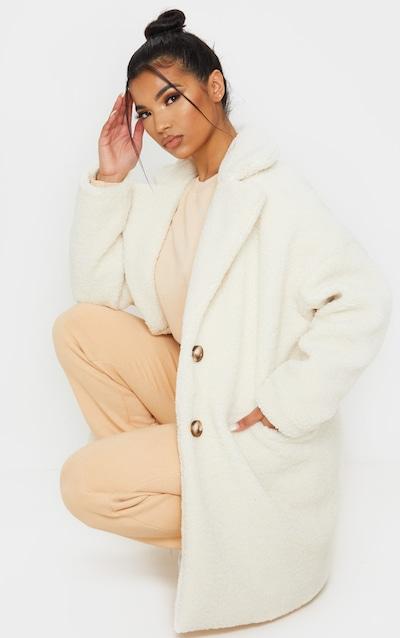 Cream Midi Teddy Borg Coat